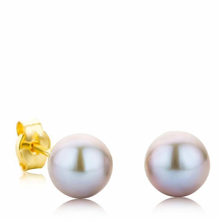 earrings, BELORO, 9KT Grey Pearl Earrings Yellow Gold