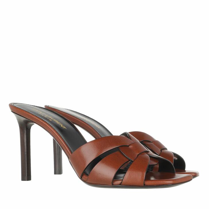 Schuh, Saint Laurent, Tribute Heel Mule Leather Tan