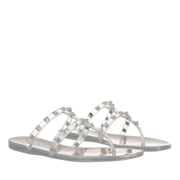 Schuh, Valentino Garavani, Rockstud Thong Sandal Silver