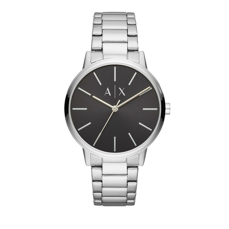 watches, Armani Exchange, Three-Hand Stainless Steel Watch Silver