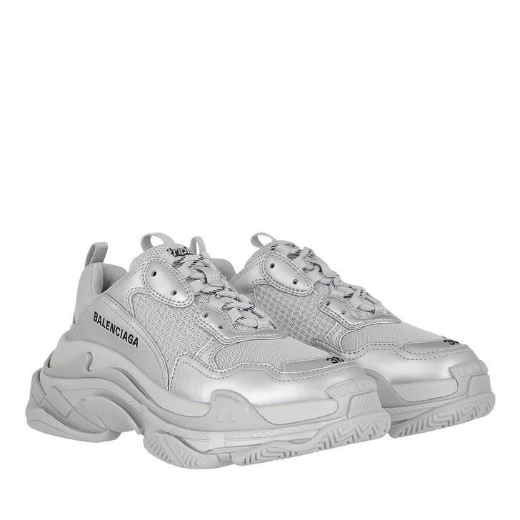 shoes, Balenciaga, Triple S Sneakers Metallic Effect Silver