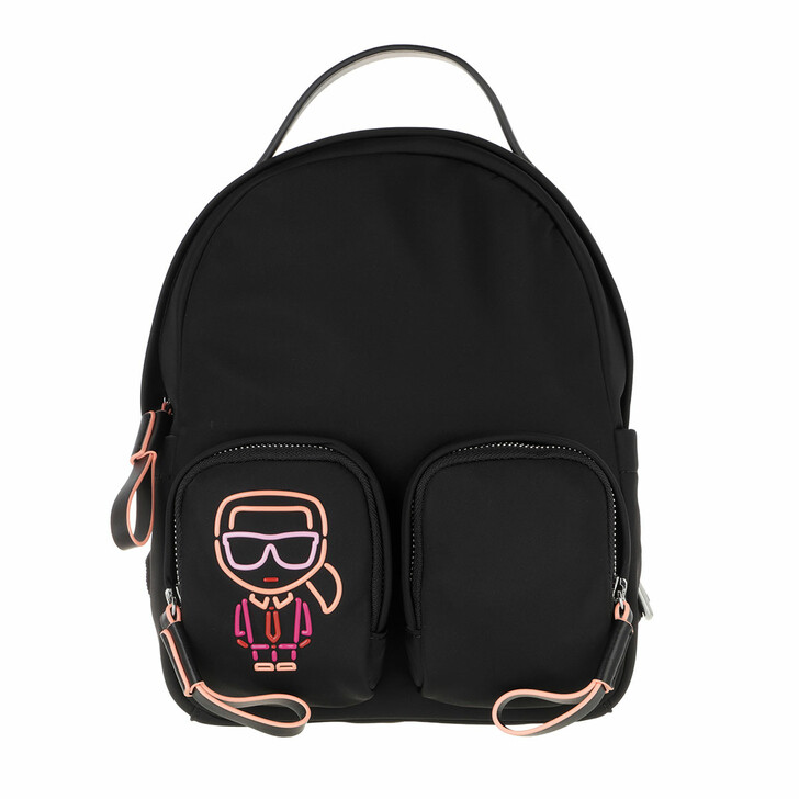 bags, Karl Lagerfeld, Ikonik Biarritz Nylon Small Backpack  Black