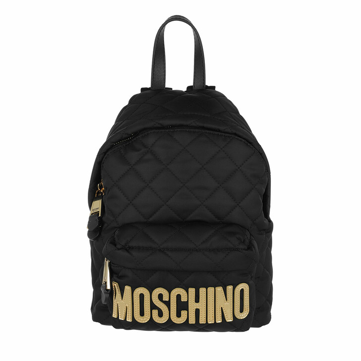 Reisetasche, Moschino, Quilted Logo Backpack Small Black
