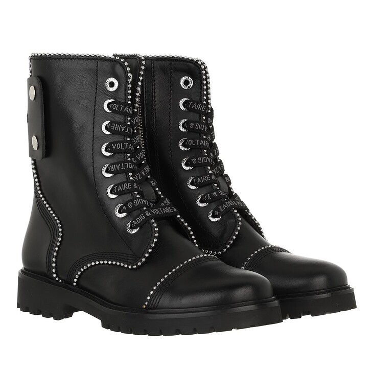 shoes, Zadig & Voltaire, Joe - Smooth Cowskin & Studs Pipping Black