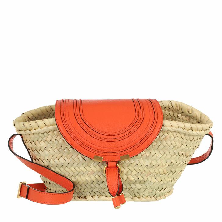 bags, Chloé, Small Marcie Basket Bag Hand-Braided Raffia Arrancione