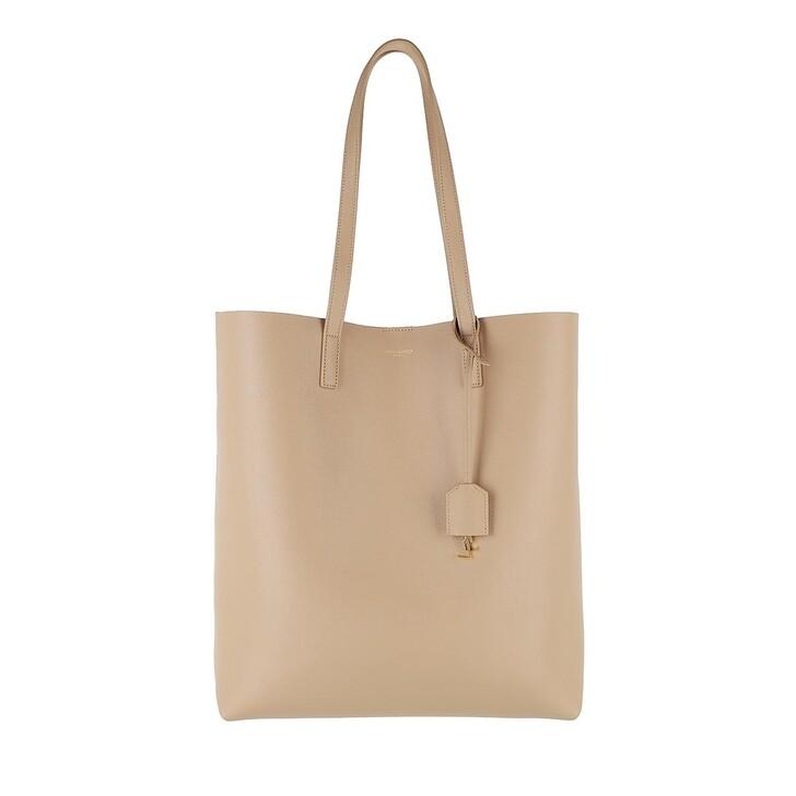 Handtasche, Saint Laurent, North South Tote Leather Dark Beige