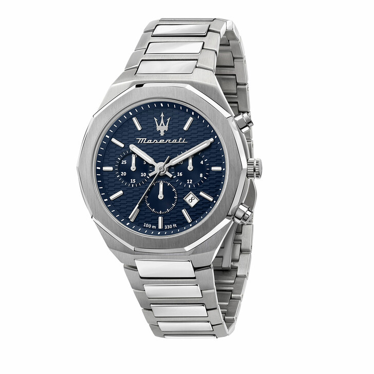 watches, Maserati, Watch Stile 45mm Chr Blue and Silver