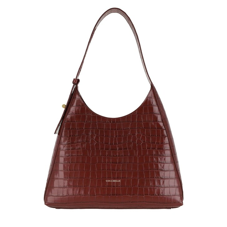 Handtasche, Coccinelle, Handbag Shiny Soft Croco Leather Marsala