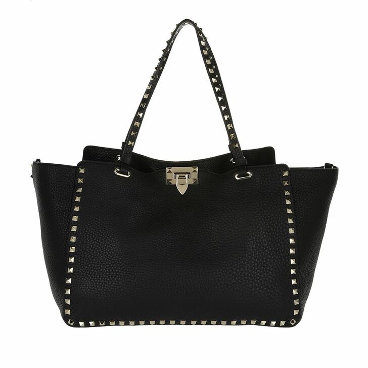 Handtasche, Valentino Garavani, Rockstud Shopping Bag Nero Black