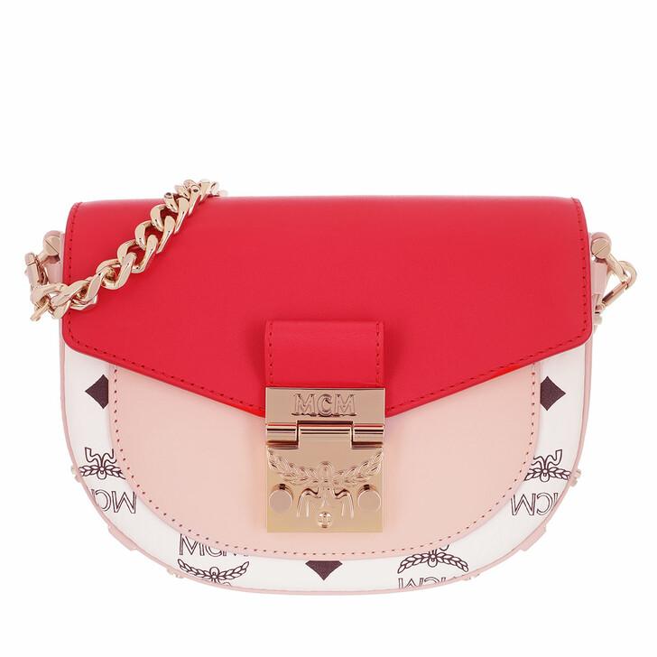 Handtasche, MCM, Patricia Visetos Leather Block Crossbody Bag Mini Chinese Red