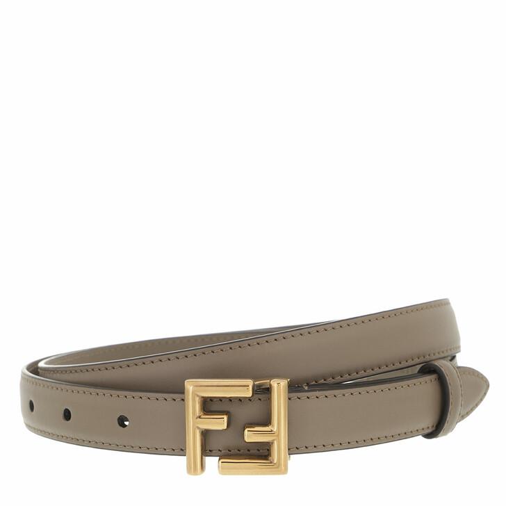 belts, Fendi, Thin FF Stud Buckle Belt Leather Brown