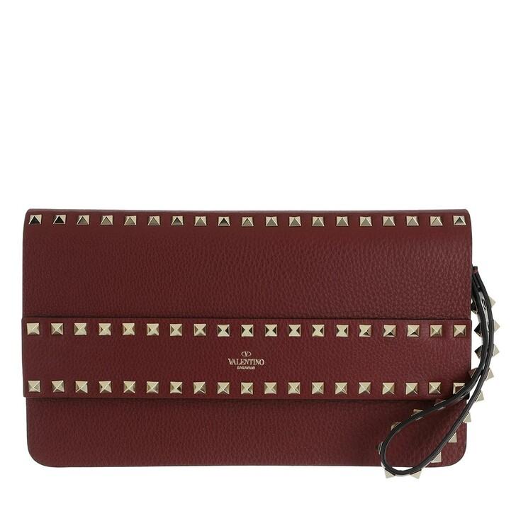 Handtasche, Valentino, Rockstud Clutch Leather Cherry