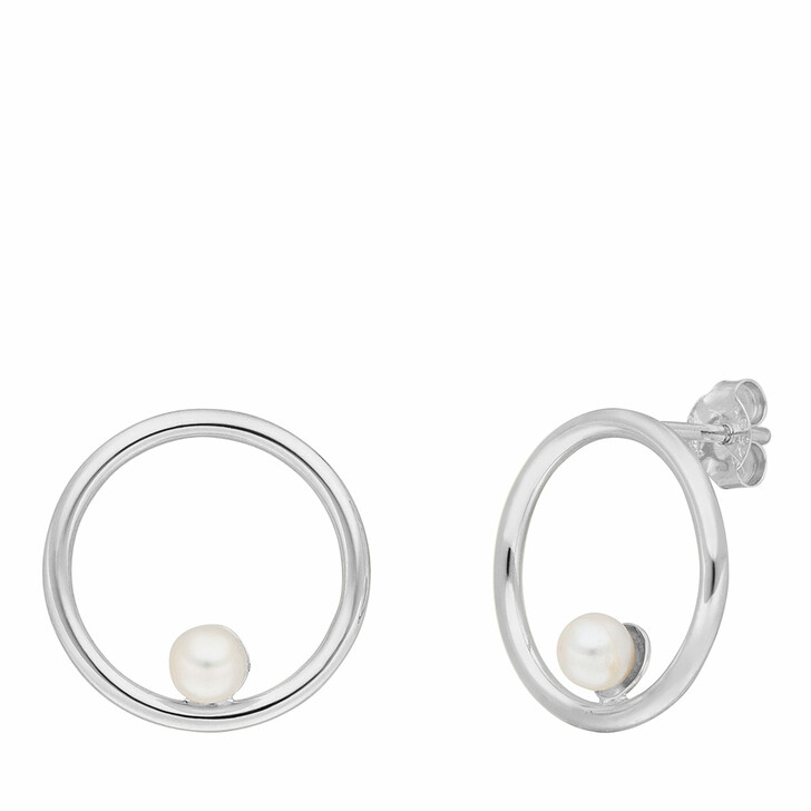 Ohrring, Leaf, Studs Circle with Pearl Sterling silver