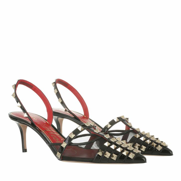 shoes, Valentino Garavani, Rockstud Alcove Slingback Pumps Leather Black