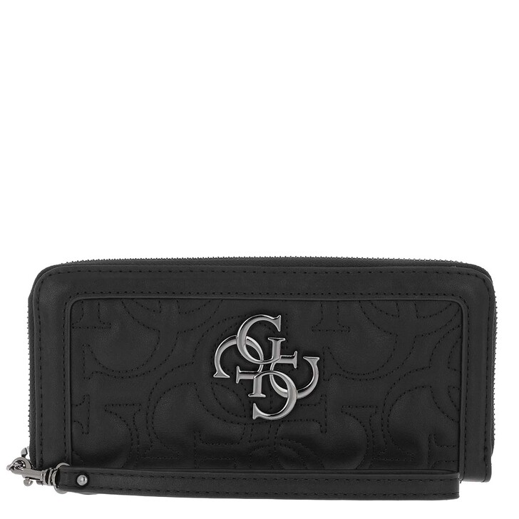 wallets, Guess, New Wave Large Zip Around Wallet Black