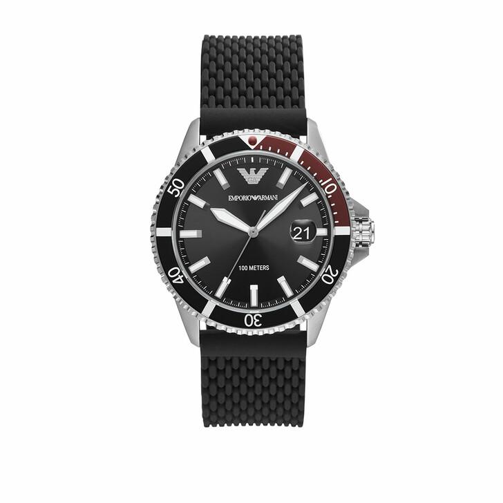 Uhr, Emporio Armani, Men Three-Hand Mesh Silicone Watch Black