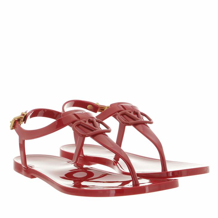 shoes, Valentino Garavani, V Logo Signature Flat Sandal Rubber Red