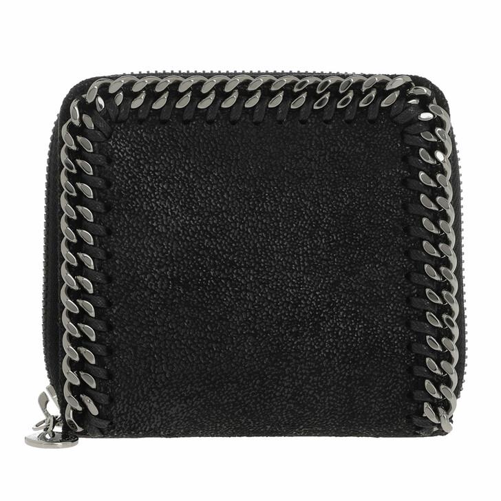 wallets, Stella McCartney, Falabella Shaggy Small Zip Wallet Leather Black