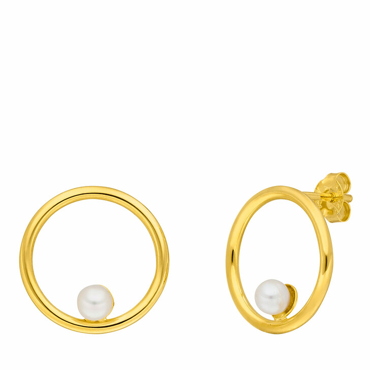 Ohrring, Leaf, Studs Circle with Pearl Yellow Gold