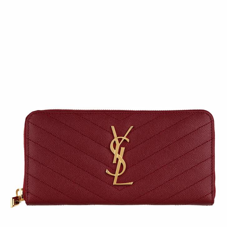 Geldbörse, Saint Laurent, Monogramme Grain De Poudre Zip Around Wallet Opyum Red