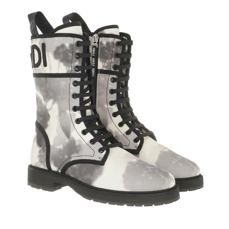 shoes, Fendi, Floral Biker Boots Canvas White/Black