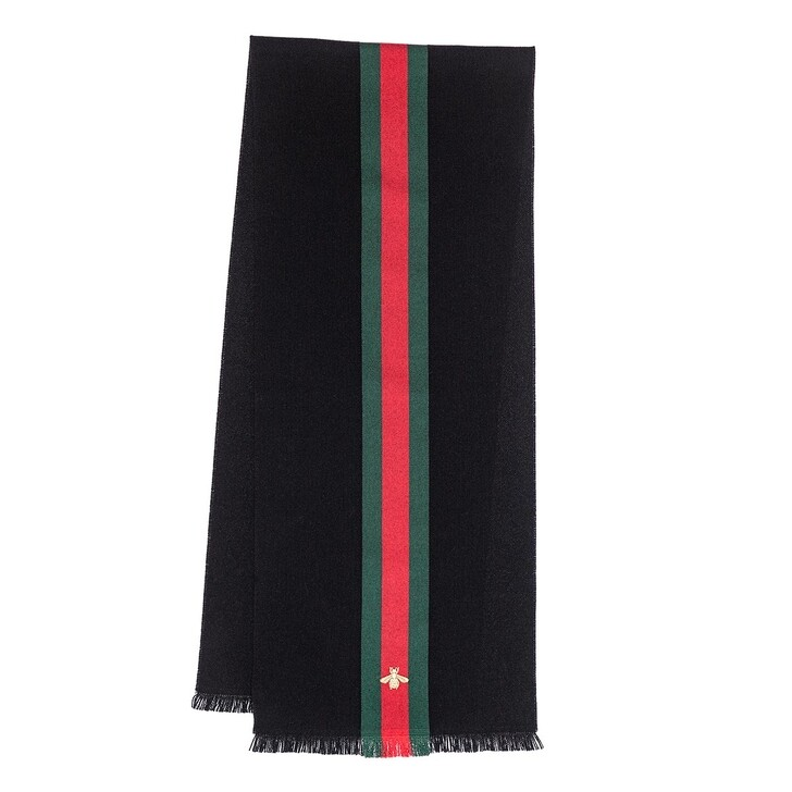 scarves, Gucci, Wool Cashmere Scarf With Web Black Dark Green