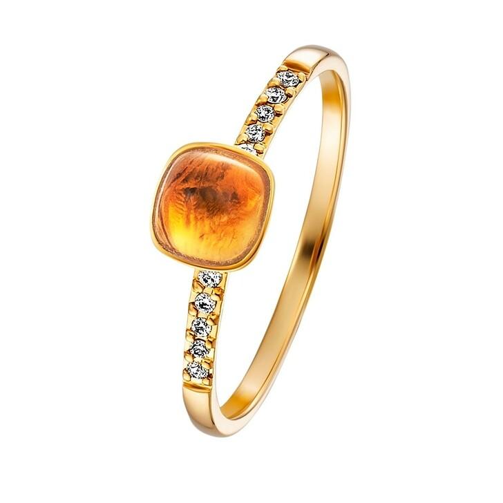 rings, BELORO, Stacking Ring Diamond Citrine Small 14k Gold