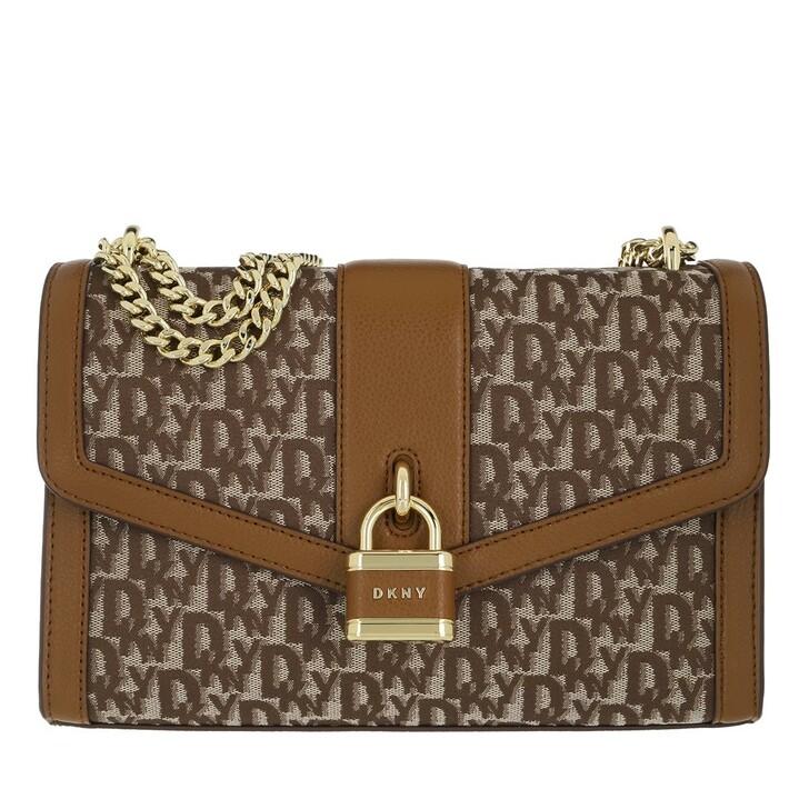 Handtasche, DKNY, Ella Large Shoulder Flap Chino Coffee