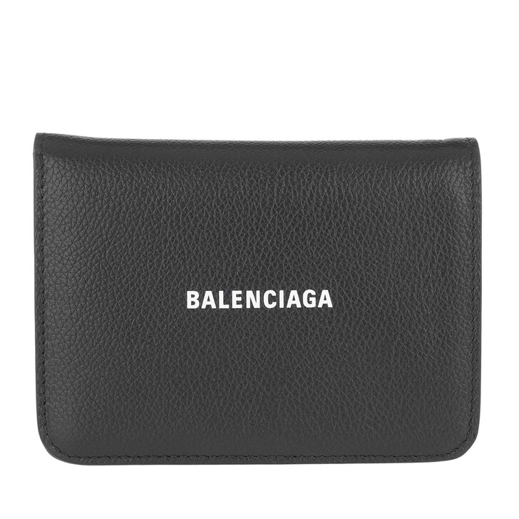 Geldbörse, Balenciaga, Logo Leather Wallet Black