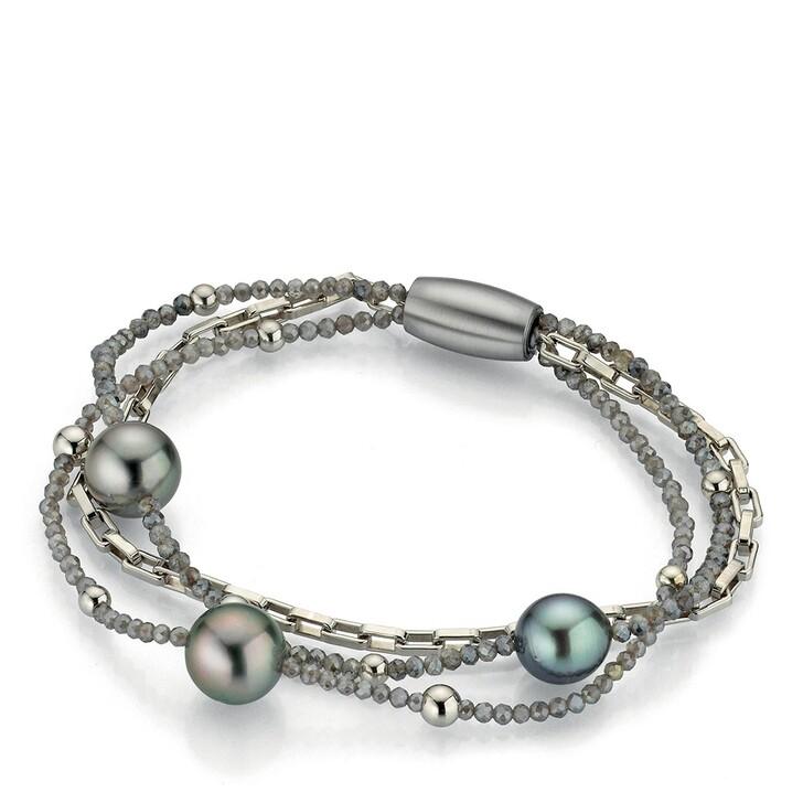 bracelets, Gellner Urban, Bracelet Moonstone Tahiti Pearls Silver/Anthracite