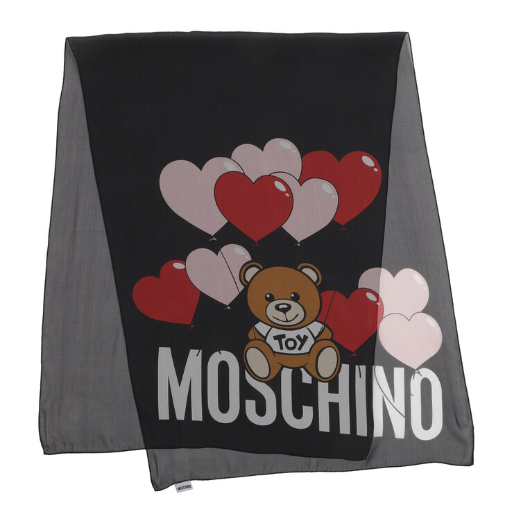 scarves, Moschino, Hearts Scarf Black
