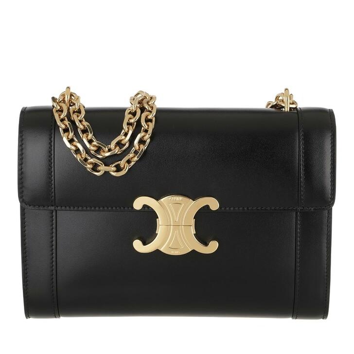 Handtasche, Celine, Triomphe Crossbody Bag Shiny Calfskin Black