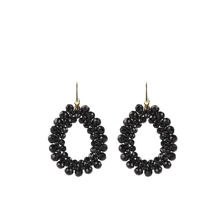 Ohrring, LOTT.gioielli, Glassberry peyote drop black Gold