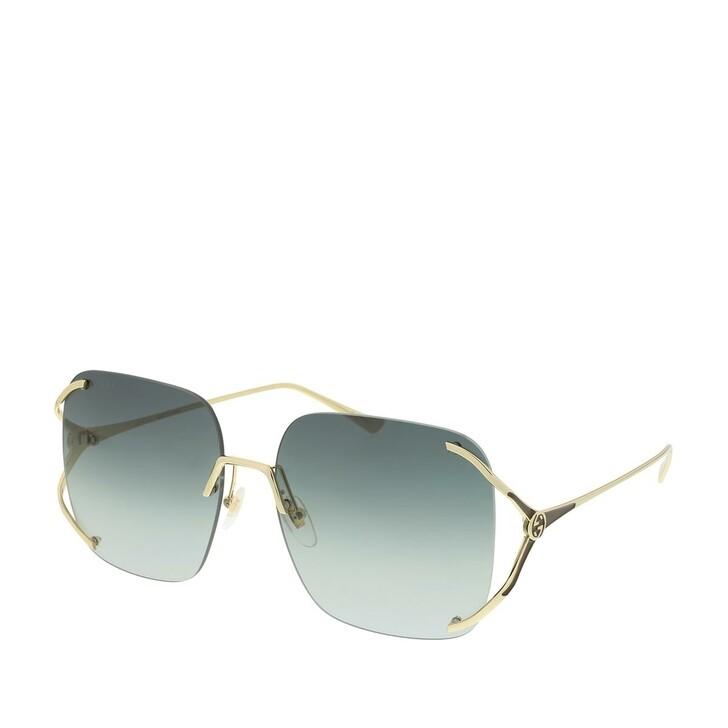 Sonnenbrille, Gucci, GG0646S-001 60 Sunglasses Gold-Gold-Grey