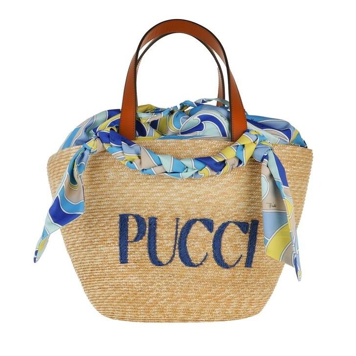 Handtasche, Emilio Pucci, Bucket Bag Solid Naturale+Turchese