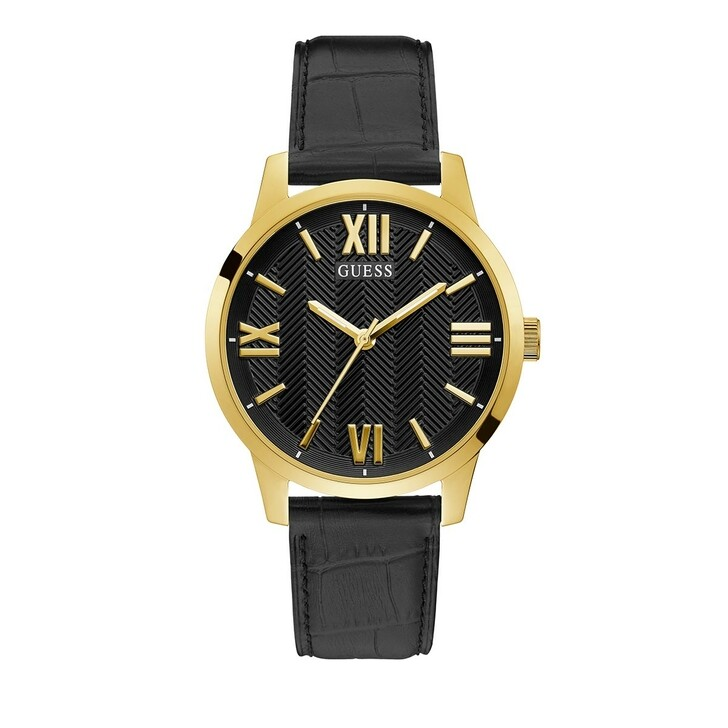 watches, Guess, Mens Dress Genuine Leather Watch Black