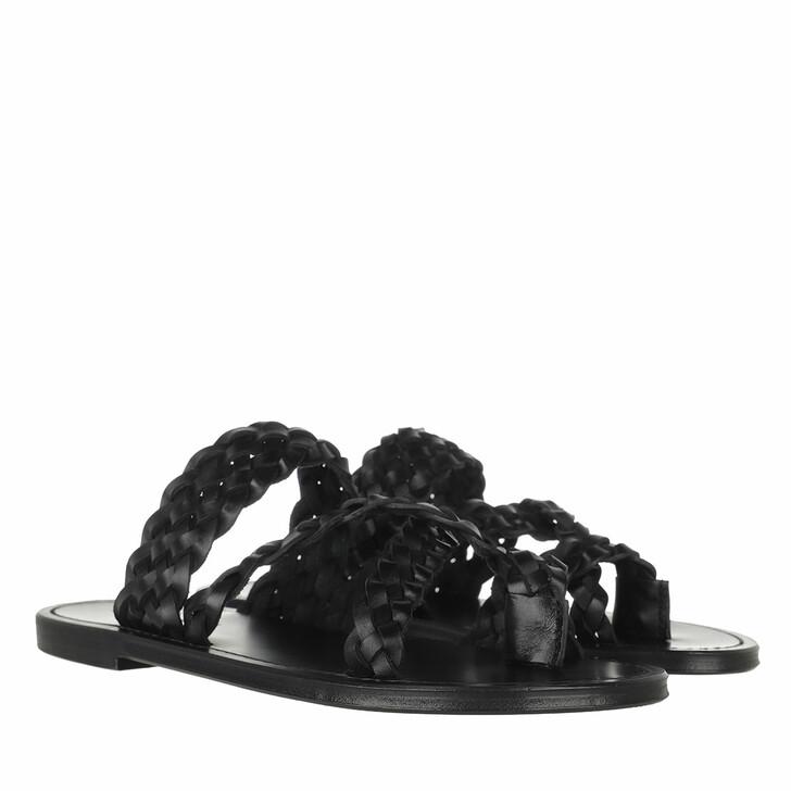 Schuh, Saint Laurent, Neil Slide Sandals Braided Leather Black