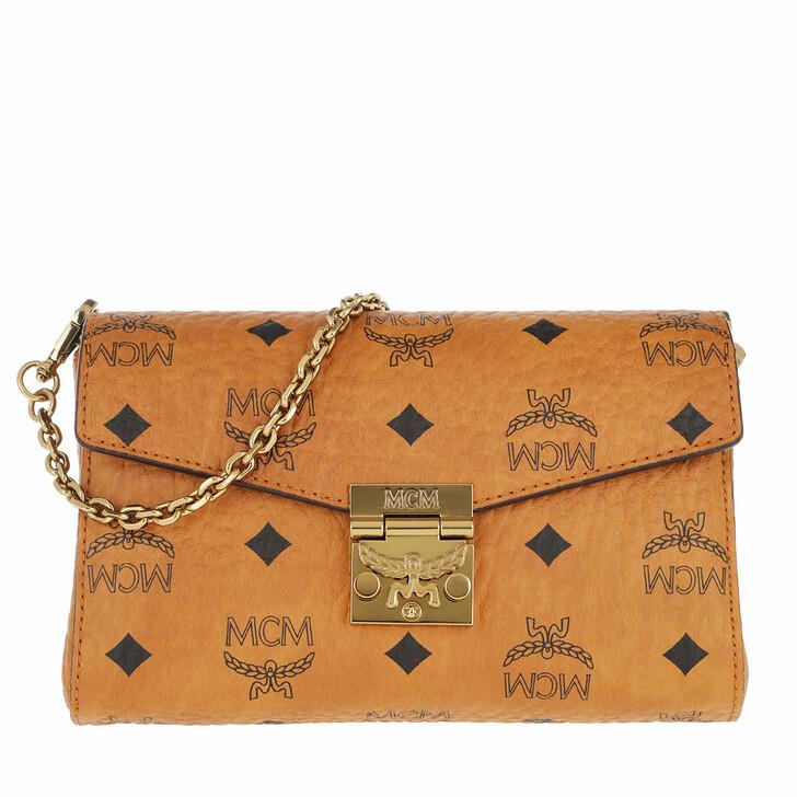 bags, MCM, Millie Visetos Crossbody Small Cognac
