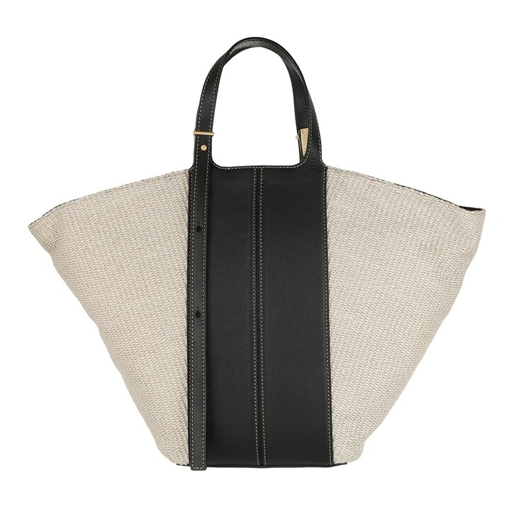 Handtasche, Gianni Chiarini, Two Handle Shopping Bag Leather Natural Black