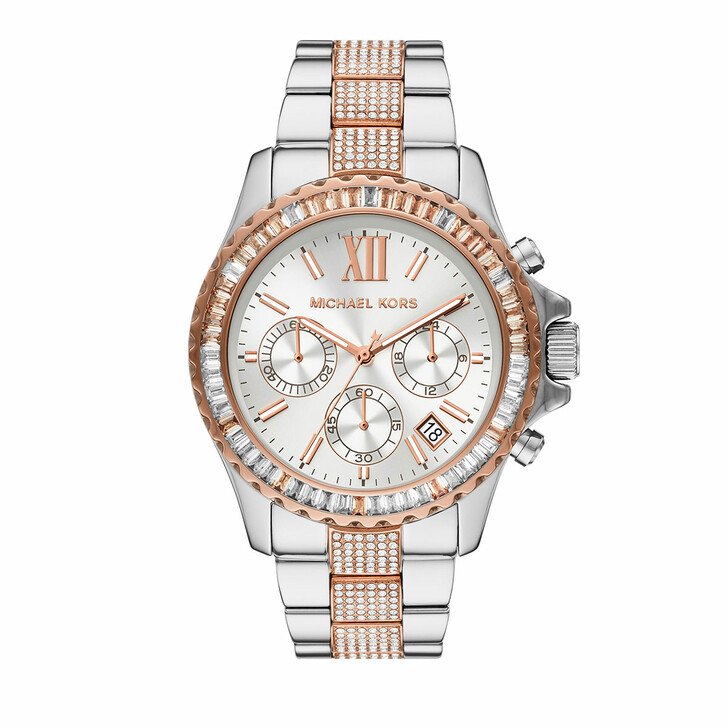 watches, Michael Kors, Women's Everest Chronograph Stainless Steel Watch  Silver Bicolored