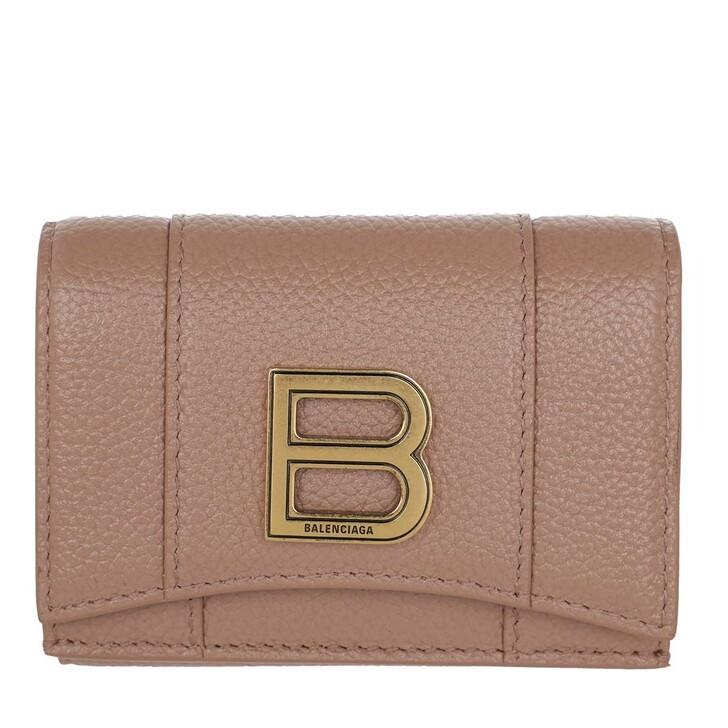 Geldbörse, Balenciaga, Hourglass Mini Wallet Grained Leather Nude Beige