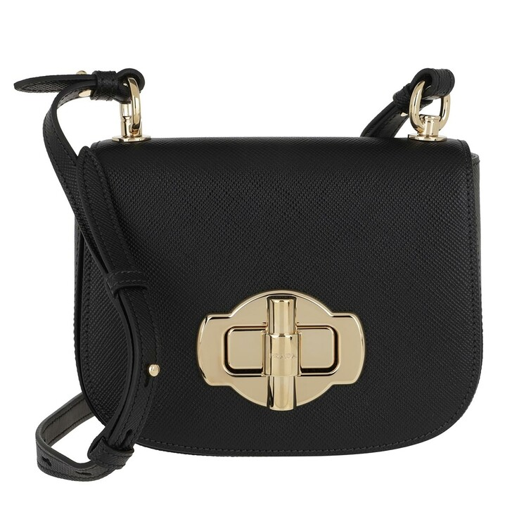 Handtasche, Prada, Saffiano Lock Crossbody Bag Leather Black