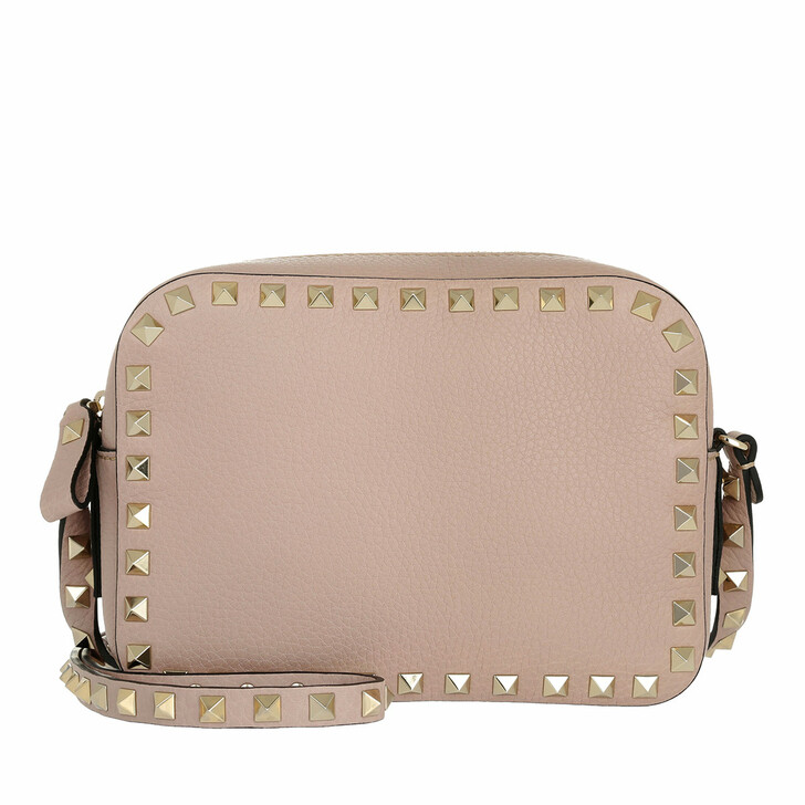 Handtasche, Valentino, Rockstud Camera Crossbody Bag Grained Poudre