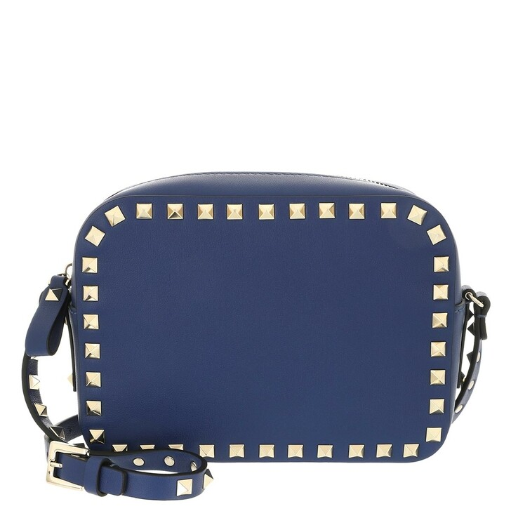 bags, Valentino Garavani, Rockstud Camera Crossbody Bag Leather Blu Delft