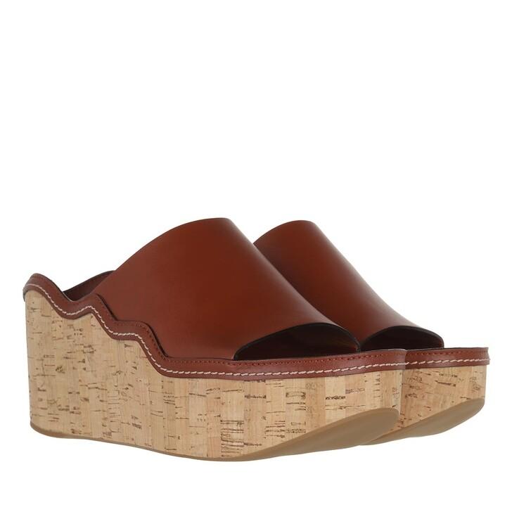 shoes, Chloé, Ingrid Wedge Mule Calfskin Sepia Brown