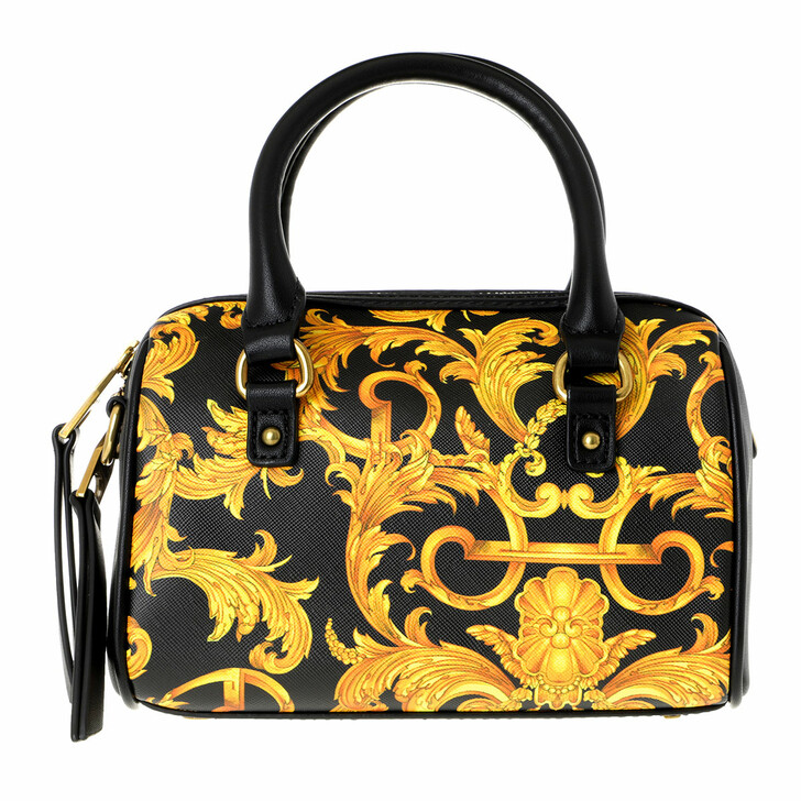 Handtasche, Versace Jeans Couture, Baroque Bowling Crossbody Bag Small Black Gold