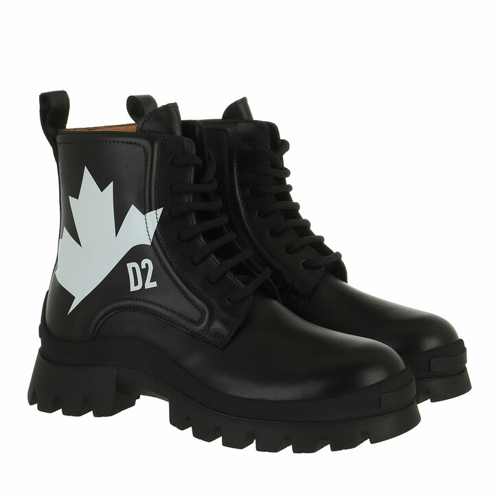 shoes, Dsquared2, Leaf Ankle Boots Black/White