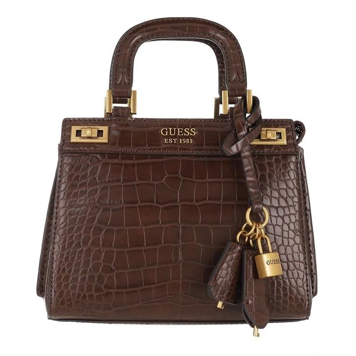 bags, Guess, Katey Mini Satchel Brown
