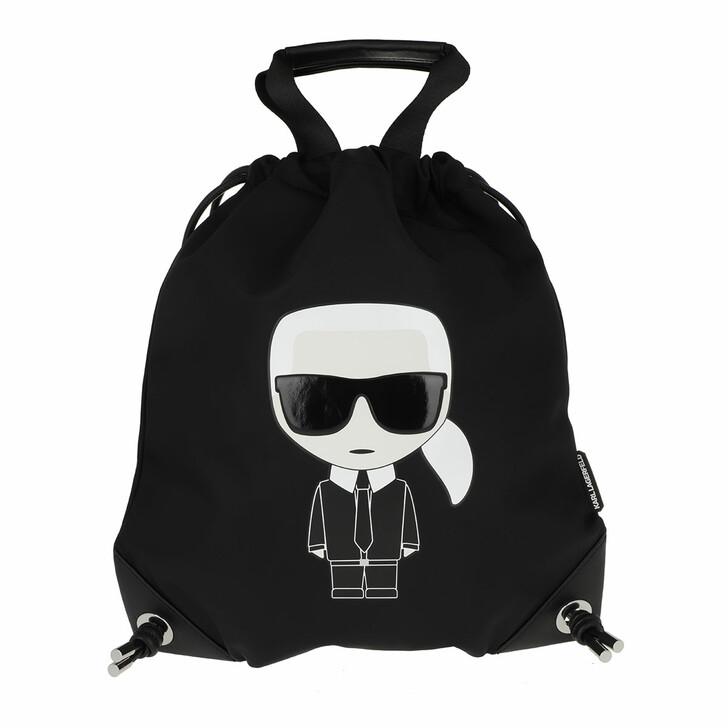 bags, Karl Lagerfeld, K/Ikonik Nylon Flat Backpack Black