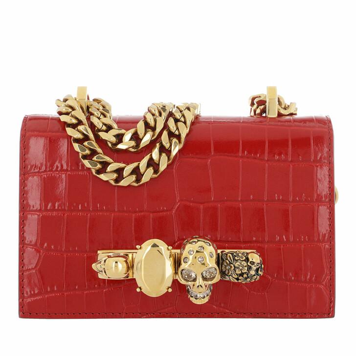 Handtasche, Alexander McQueen, Jewelled Crossbody Bag Deep Red